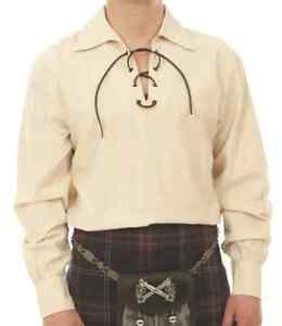 034-PROMOTION-OFFRE-034-XL-creme-Deluxe-Scottish-jacobeen-LACED-Ghillie-Shirt-4-Kilt