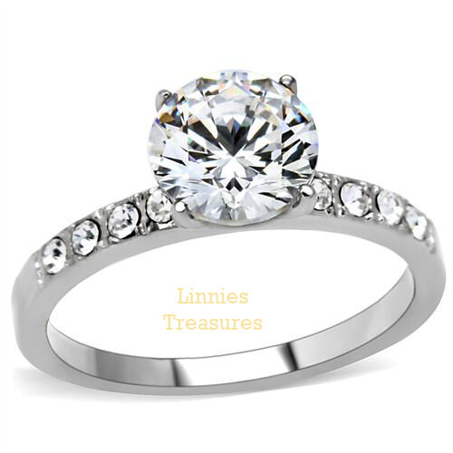 Stainless Steel Engagement Solitaire Ring Round Brilliant Cut CZ  with accents