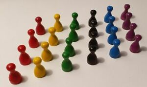 24-PUPPCHEN-fuer-MENSCH-ARGERE-DICH-NICHT-Spielfiguren-HOLZ-6-Farben-NEU