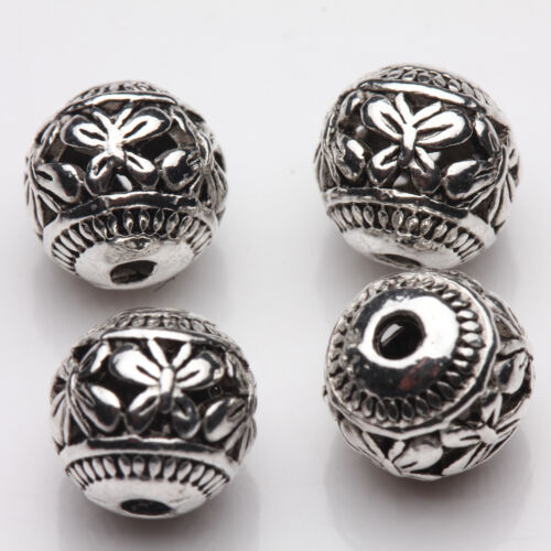 10//20PCS New Tibetan Silver Hollow Butterfly Charm Spacer Loose Beads Craft 8mm