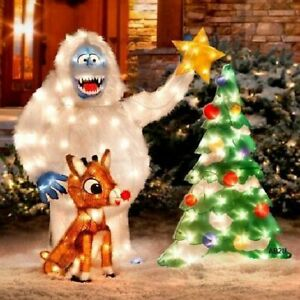 3 pc Set Rudolph and Bumble Animated Outdoor Christmas ...