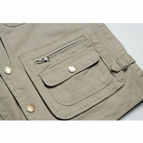 Mens 100/% Cotton Utility Waistcoat Vest Multi Pocket Work Sleeveless Jacket