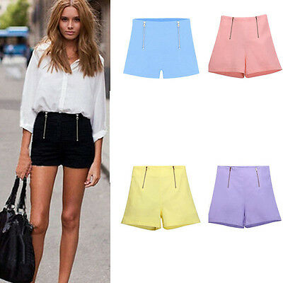 Summer Women Girl Hot Pants Casual Short Pants High Waist Zipper Shorts Pop
