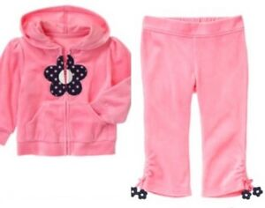 Gymboree Miss Mouse 12 18 Mo Pink Velour Flower Zip Up Pant Set