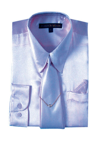 Men/'s Dress shirt 100/% Polyester Satin Lavender and Sky blue Tie with Hangy SG05