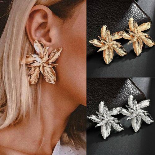 Fashion Big Argent Or Fleur Boucles D/'oreilles Femmes Alliage Ear Stud Mariage Fête Cadeaux