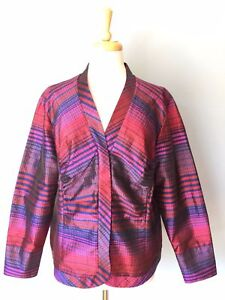 NWT-NEW-Coldwater-Creek-Soft-Silk-Pleated-Full-Zip-Top-Blouse-Women-Petite-XL