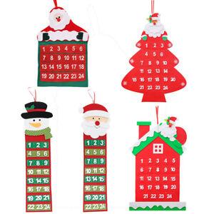 Christmas-Santa-Claus-Felt-Advent-Calendar-Pockets-Xmas-Home-Wall-Hanging-Decor