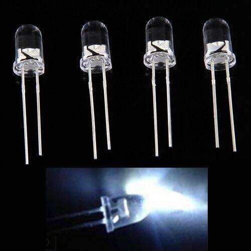 S062 - 100 Stück LEDs 5mm weiß 12000 mcd super hell 15° white