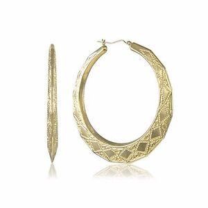 10k Yellow Gold Round Bamboo Hoop Earrings Door Knocker Women
