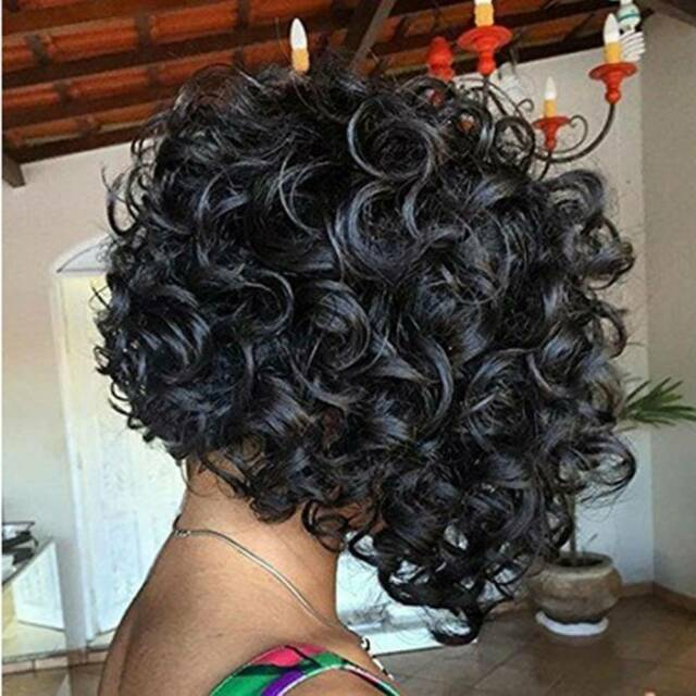 Synthetic Heat Resistant Short Curly Afro African American Wigs for Lady UK