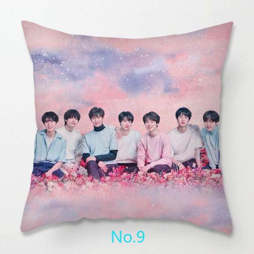 Home Decor BTS Logo Print Fashion Pillow Cases Sofa Waist Cushions Pillow Cover