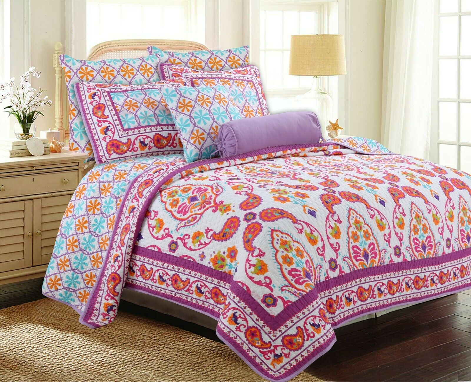 Goldfino Paisley lila 100%Cotton 3-Piece Queen Quilt Set Bedspread Coverlet