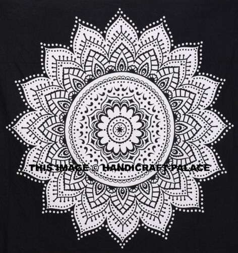 Black /& White Ombre Mandala Tapestry Indian Wall Hanging Cotton Queen Bedspread