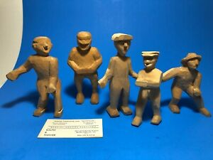 Lot 5 Vtg 1950's Hand Carved Wood Wooden Figurines by Vermont Artist R. Thayer