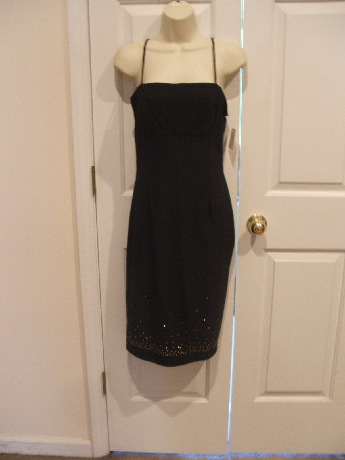 NWT  schwarz Gold beaded hem party DRESS  made in USA Größe medium 8-10