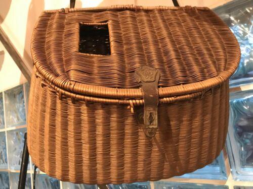 Beautiful antique Fishing creel woven wicker basket
