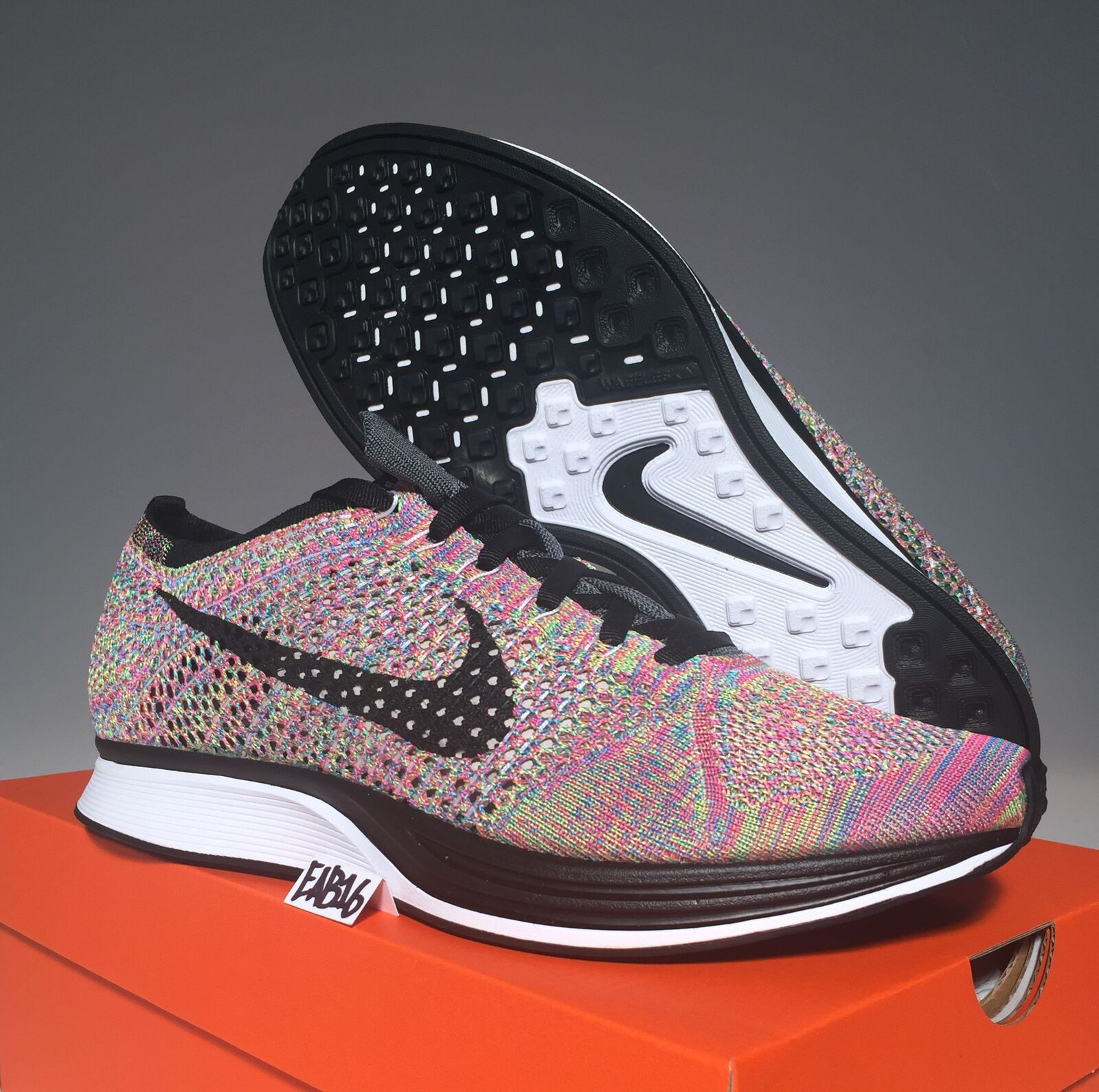 Nike Flyknit Racer Rainbow 3.0 Size Multi Color 526628 004 Grey Tongue Fly Knit