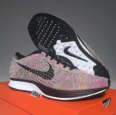 302ae627ad230 Nike Flyknit Racer Rainbow 3.0 Size Multi Color 526628 004 Grey Tongue Fly  Knit