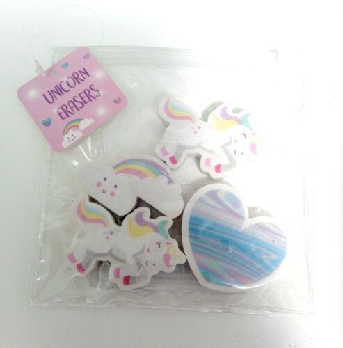 UNICORN Erasers set Rubbers School Party Gift Bag Filler Kid Child girl Rainbow