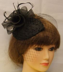 Vintage-1940s-50-Fascinator-Veil-Race-Hat-Black-Tear-drop-hat-mini-birdcage-veil