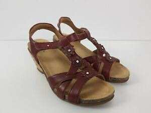 taos-039-Passion-039-Red-Leather-Wedge-Heel-Comfort-Sandal-Women-039-s-Size-US7-EUR37-UK4
