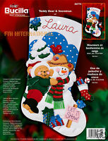 Bucilla Teddy Bear & Snowman 18 Felt Stocking Kit 84774, Snow, 2002, Nip