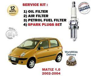 CHEVROLET DAEWOO MATIZ 1.0 2002-> OIL AIR FUEL FILTER + SPARK PLUGS
