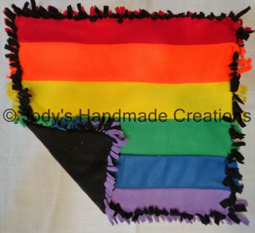 GAY PRIDE HANDMADE BABY PET MINI FLEECE TIED SECURITY BLANKET LGBT 15 X 17