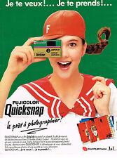 PUBLICITE ADVERTISING 124  1988  FUJI FILM    appareil photo QUICKSNAP