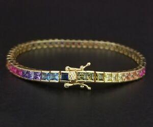 14k-Yellow-Gold-Finish-Square-Blue-Sapphire-amp-Multi-Gem-Tennis-Bracelet