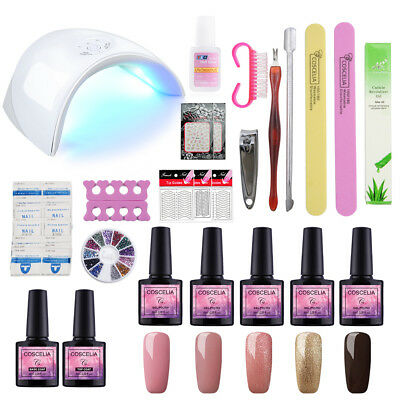 Nail Salon Kit UV LED Lamp Nail Sticker File 5Pcs Gel Polish ...