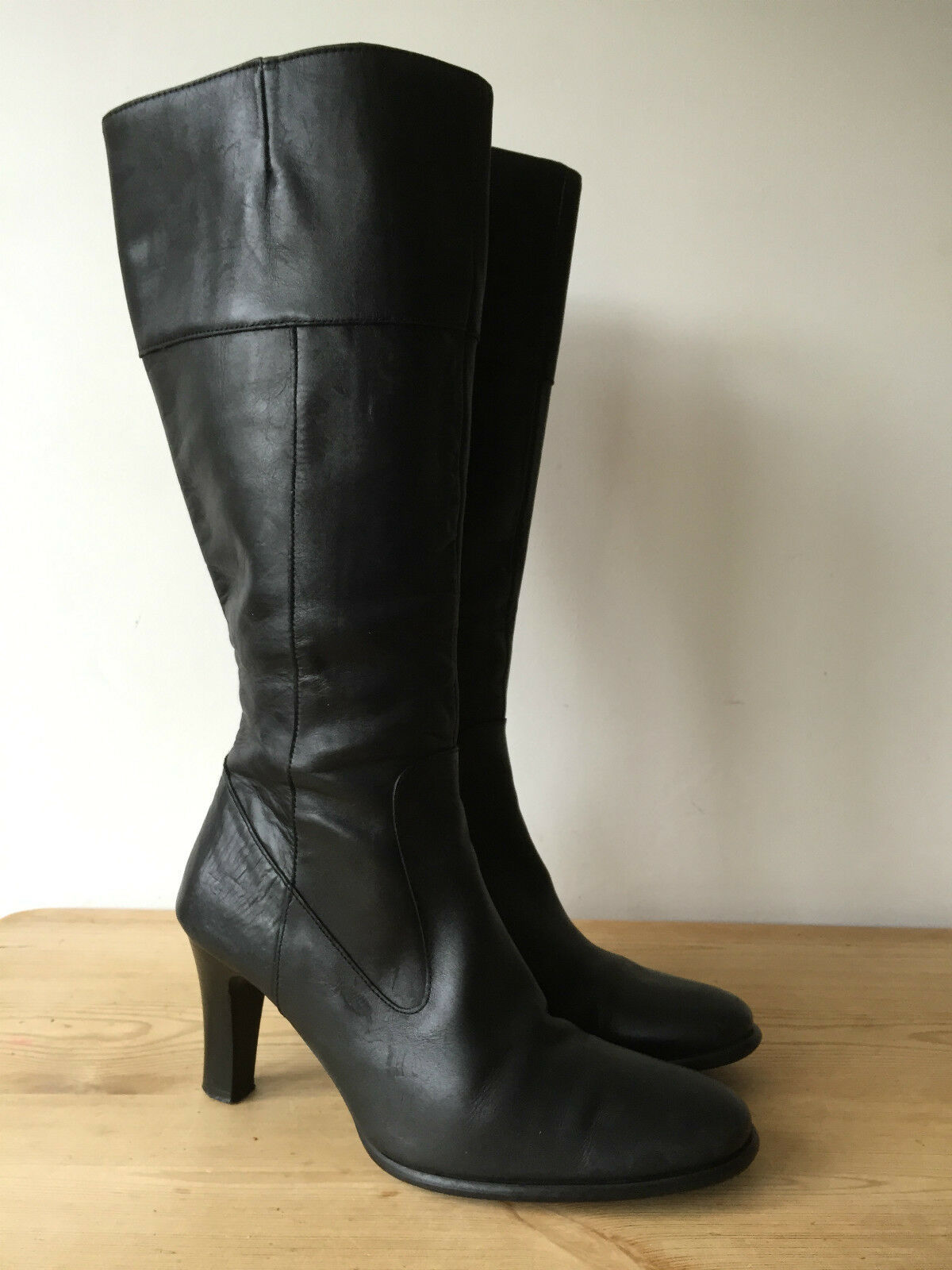 BUCKLES & BOWES LADIES BLACK LEATHER KNEE HIGH BOOTS UK5