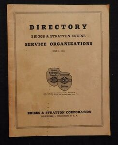 1951 BRIGGS & STRATTON STATE BY STATE DEALER SERVICE DIRECTORY VERY SCARCE