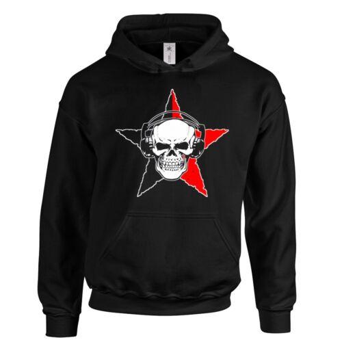 "Stern Kapuzenpullover /""ANARCHO SKULL/"" Anarchy Totenkopf Sweatshirt Punk HC"