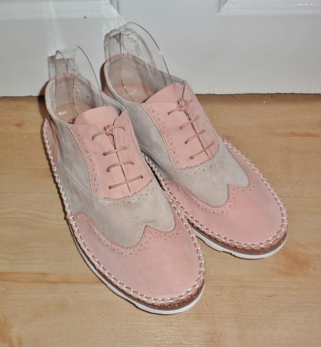 BNIB Clarks Narrative femmes DAMARA ROSE suede peach combi casual laced chaussures