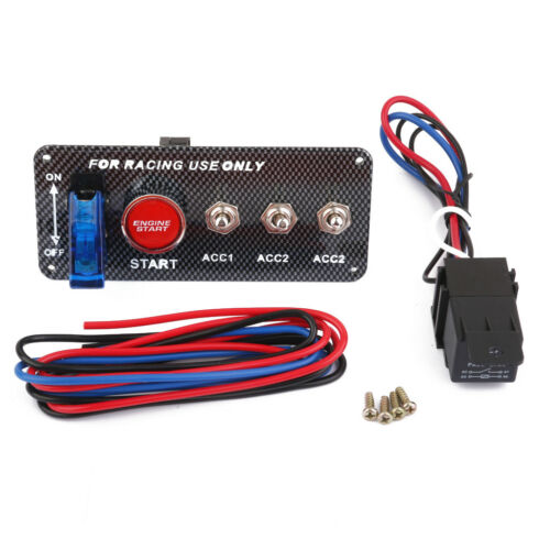 Racing Car Auto 12V Blue LED Toggle Ignition Switch Panel Start Push Button