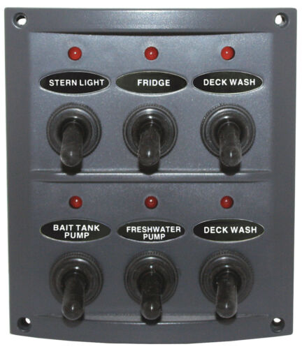 6 GANG BOAT WATERPROOF TOGGLE SWITCH PANEL WITH LED INDICATORS /& FUSES