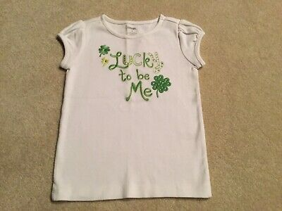 Gymboree TEA TIME AFTERNOON White Gem Clover Lucky To Be Me Tee Top Shirt NWT