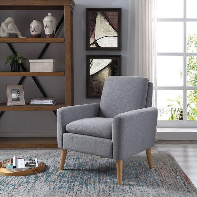 Mid Century Modern Tufted Sofa Velvet Accent Farbic Armchair Living Room  Chair