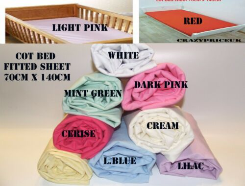 Cot bed Fitted Sheet 70 x 140 cm 15 cm Poly Cotton Toddler New Baby