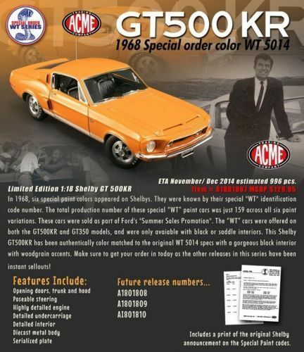 BLACK GMP DIECAST 1968 FORD MUSTANG SHELBY GT 500 ACME 1:18 GRABBER ORANGE