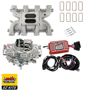Details about LS Carb Intake Kit - Edelbrock RPM Intake/MSD 6014  Ignition/Quickfuel 750 Carb