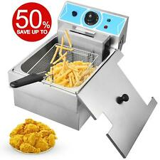 2000w 8l Electric Deep Fryer Single Tank Commercial Restaurant Stainless Steel