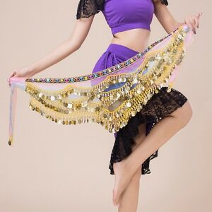 UK 3 Row Belly Dance Hip Wrap Scarf Skirt Belt Dancing Costume with Gold Coins