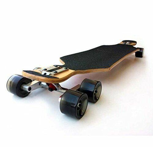 Set of 2 Black Tandem Axle Wheel Kit Double Wheel Set for Skateboard Longboard