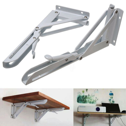 2X 10/'/'DIY Metal Triangular Folding Shelf Bracket Release Catch Support Tab US