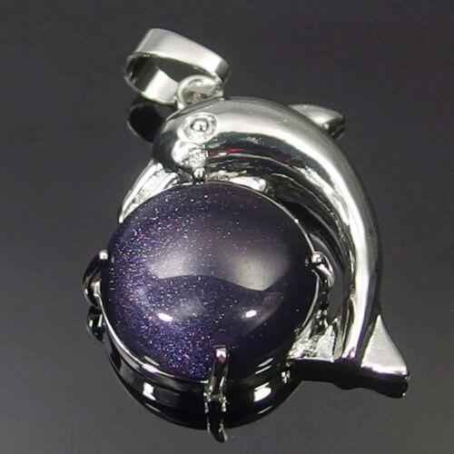 Natural Jasper Agate Amethyst Quartz Stone Beads Dolphin Charms Pendant Necklace