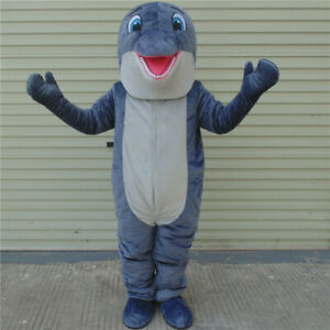 9f862792 Dolphin Mascot Costume Blue Fish Adult Cosplay Halloween Outfit ...