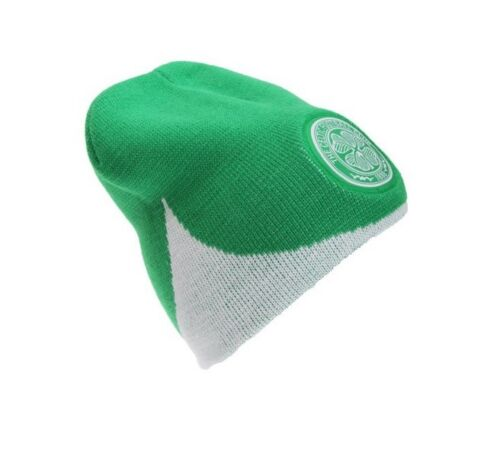 Celtic FC Official Wave Knitted Football Crest Winter Beanie Hat Green White Fan